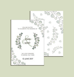 Invitation with eucalyptus leaves modern vector