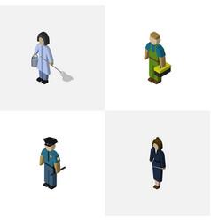 Isometric people set of housemaid plumber vector