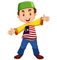 Malaysian boy being happy vector image vector image