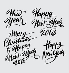 Merry christmas and happy new year handwriting cal vector