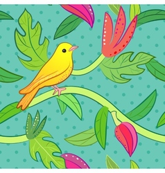 Nature seamless pattern with bird and leaf vector image