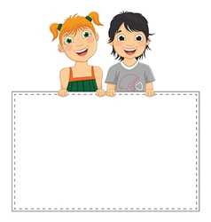 Of Cute Children Holding Banne vector image vector image