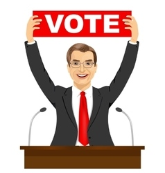Politician man holding a vote banner vector