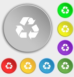 Processing icon sign symbol on five flat buttons vector