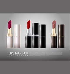 realistic lipsticks collection vector image vector image