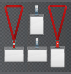 Set of lanyard and badge template plastic badge vector