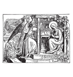 The annunciation the angel gabriel appears to the vector