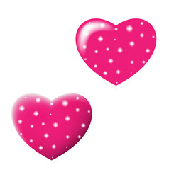 Two shiny valentines hearts isolated on white vector