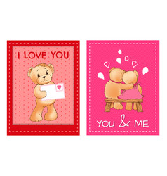 Valentines day postcards with cute fluffy bears vector