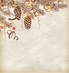 Vintage hand drawn Christmas background vector image vector image