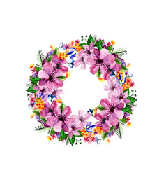 Watercolor flower roses wreath vector
