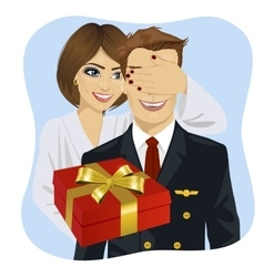 Wife standing behind husband with gift vector