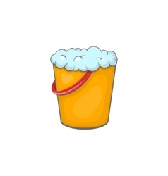 Yellow bucket with foamy water icon vector