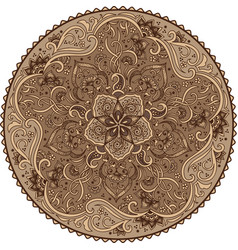 Zentangle round colored floral vector