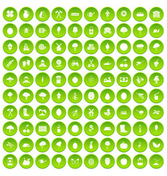 100 agriculture icons set green circle vector