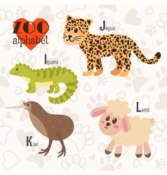 Zoo alphabet with funny animals i j k l letters vector
