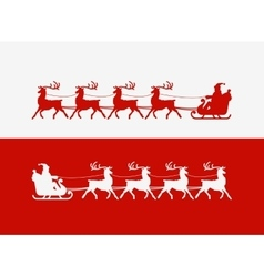 Merry christmas greeting card santa claus rides vector