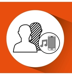 Silhouette head connected mobile music social vector