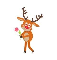Deer in love cartoon flat vector