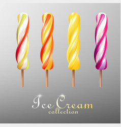 realistic popsicles colorful ice cream set vector image