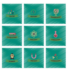 Assembly flat shading style icons rocket science vector