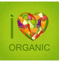 Healthy food concept heart shape with organic vector