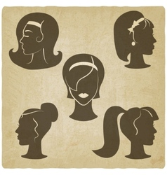 Women hairstyles old background vector