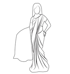 Saree outline vector