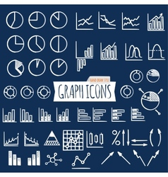 Business charts hand draw style set of thin line vector