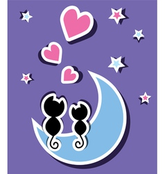 Two cats in love sitting on the moon vector
