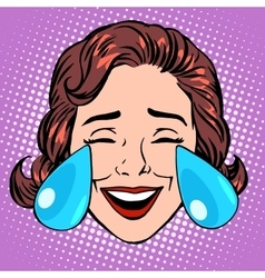 Retro emoji tears of joy woman face vector