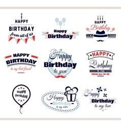 Happy birthday labels set vector