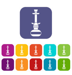 arabic hookah icons set flat vector image
