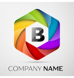 B Letter colorful logo in the hexagonal on grey vector image