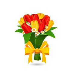 Bouquet of red yellow tulip with a yellow bow vector
