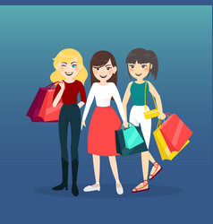 Cartoon woman group with shopping bag vector