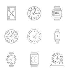 Chrono icons set outline style vector