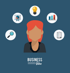 Colorful poster of half body business woman with vector