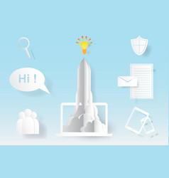 Computer startup rocket idea concept vector