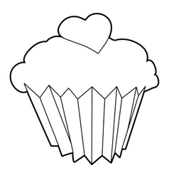 Cupcake icon outline style vector image