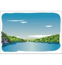 Digital sketch lake at transfagaras vector image