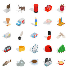 euro icons set isometric style vector image vector image