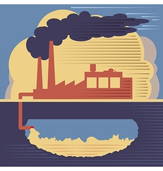Factory building - air and soil pollution vector