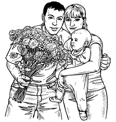 Family and flowers vector image