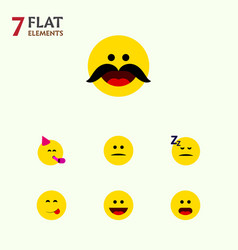 Flat icon face set of asleep wonder party time vector