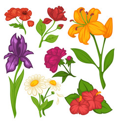 flowers blooms flat isolated icons set vector image vector image
