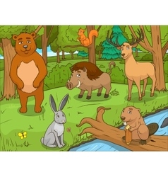 Forest cartoon animals educational game vector image vector image