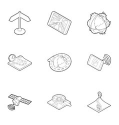 Gps navigation icons set outline style vector