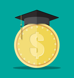 Graduation cap and gold coin vector