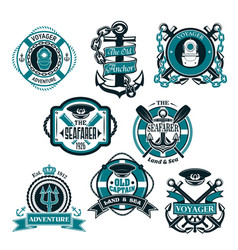 icons set of nautical and marine symbols vector image vector image